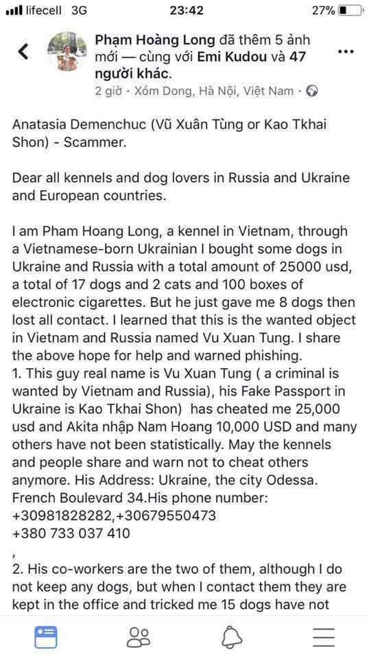 Bài bốc phốt Vũ Thanh Tùng ngày 1.2.2018