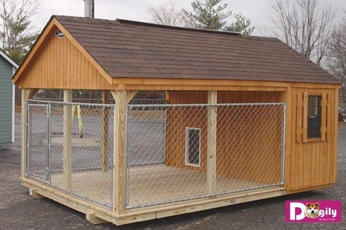 Một mẫu chuồng chó bằng gỗ dành cho chó lớn và cực đại cùng thiết kế trên
