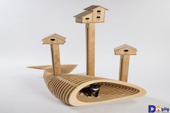 Nhà ở cho mèo làm từ gỗ