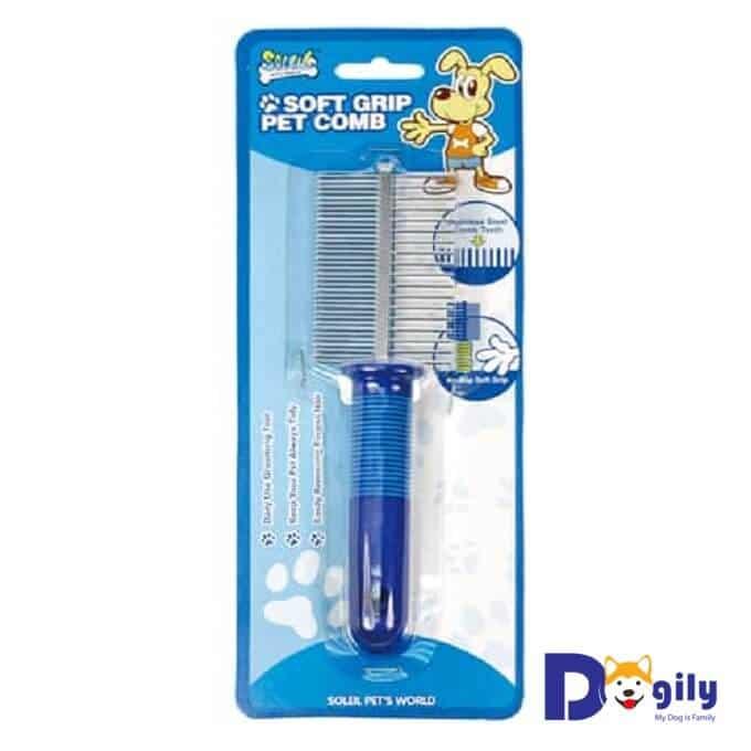 Hình ảnh lược chải lông cho chó mèo soft grip pet comb đnag bán tại Dogily Petshop.