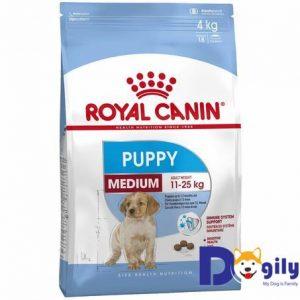 ROYAL CANIN MEDIUM PUPPY Dành cho chó kích cỡ Medium (cân nặng tối đa từ 11 - 25 kg) và đang trong lứa tuổi Puppy từ 2 đến 12 tháng tuổi. Thức ăn dinh dưỡng dành riêng cho chó kích cỡ trung bình (Medium : cân nặng tối đa từ 11 - 25kg) ở độ tuổi từ 2 - 12 tháng (Puppy).
