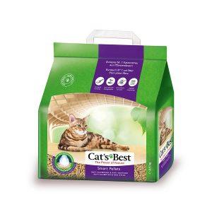"""Cat's Best Smart Pellets có dạng những viên nén """"thông minh"""", giúp hạn chế bám dính vào lông mèo gây vương vãi ra ngoài, đặc biệt phù hợp với mèo lông dài. Cát vón cục, thấm hút lượng chất lỏng gấp 7 lần thể tích cát."""