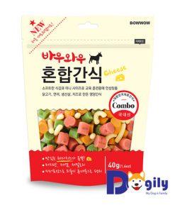 Bánh thưởng Snack hỗn hợp 40g (nhà sản xuất: Bowwow) với thành phần chính là thịt gà và cá hồi, là món ăn giàu khoáng chất, giàu protein, bổ dung dinh dưỡng cho các bé.