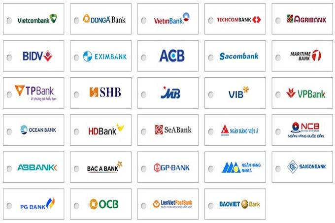 Danh sách các ngân hàng liên kết thanh toán với Dogily Petshop.