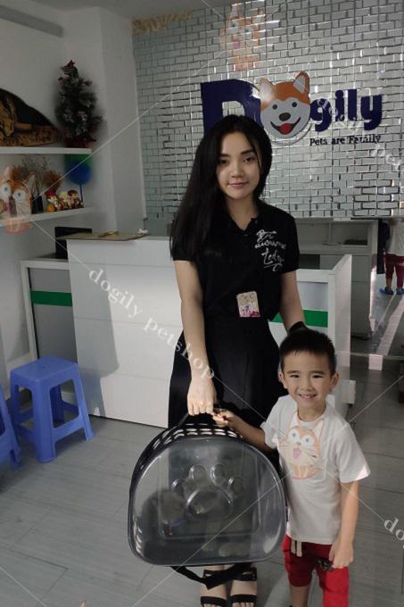 Hai mẹ con bé Thảo Nhi mua mèo xx tai cụp 2 tháng tuổi tại Dogily Cattery.